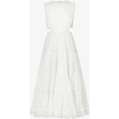 Cassia broderie-detail linen midi dress