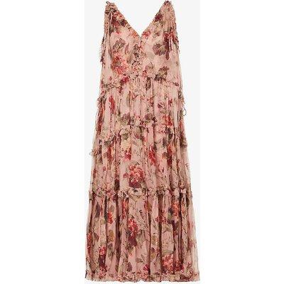 Cassia ruffled floral-print silk midi dress