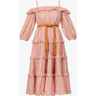 Mae polka dot woven midi dress