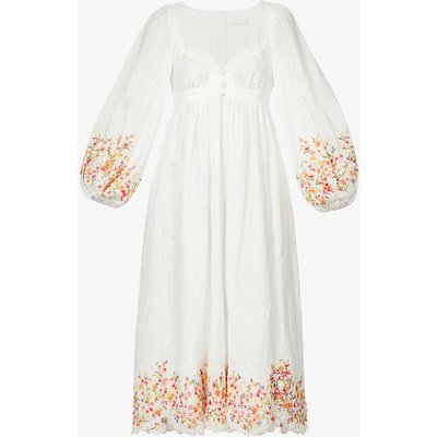 Mae floral-embroidered linen midi dress