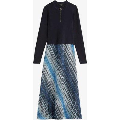 Ionaaa zig-zag stretch-woven midi dress