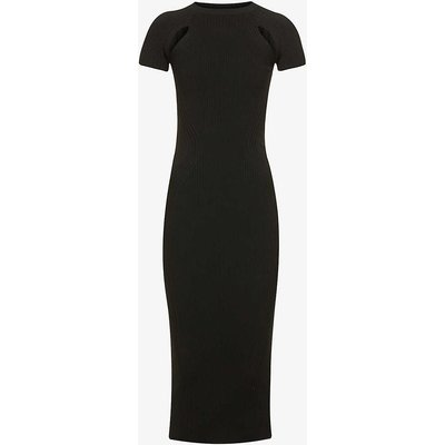 Cap-sleeved fitted stretch-woven midi dress