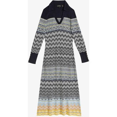 Holliis geometric-print woven midi dress