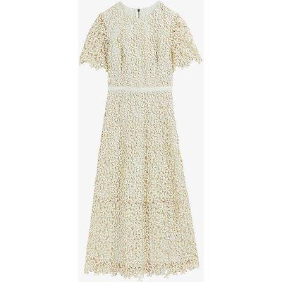 Aldorra lace-trimmed woven midi dress