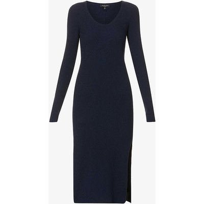 Sunny side-split organic cotton-blend midi dress