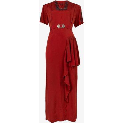 Pre-Loved 1940s belted bead-embellished crepe midi dress