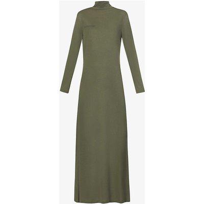 Text-print high-neck woven seaweed midi dress