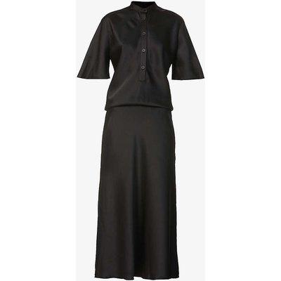 Short-sleeved bias-cut crepe midi dress