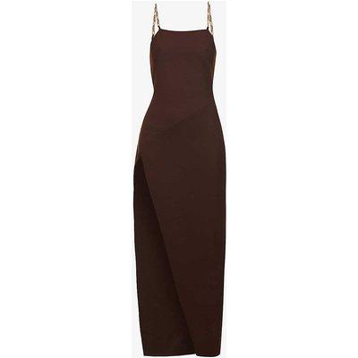 Chain-strap stretch-crepe midi dress