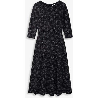 Scatter-print jersey midi dress