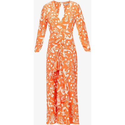 Rose graphic-print silk midi dress