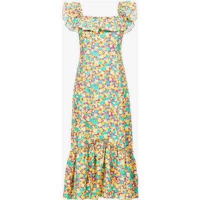 June graphic-print cotton midi dress