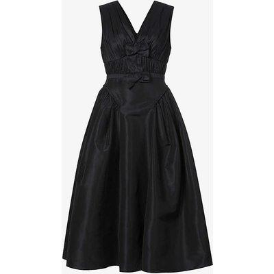 Bow-embellished crepe midi dress
