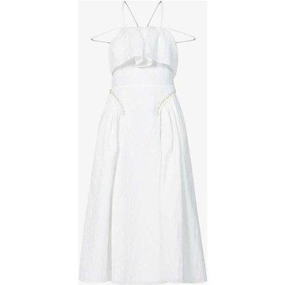 Leaf-print crepe midi dress