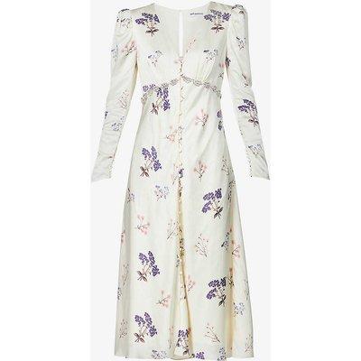 Vintage floral-print crepe midi dress
