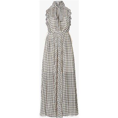 Sleeveless checked crepe maxi dress