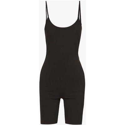 Scoop-neck sleeveless stretch-cotton jumpsuit