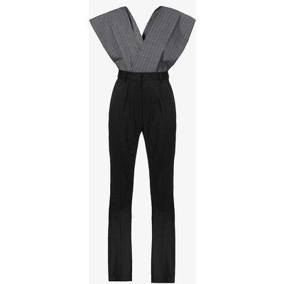 Pinstriped sleeveless twill jumpsuit