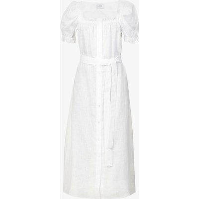 Brigette puffed-sleeve linen midi dress