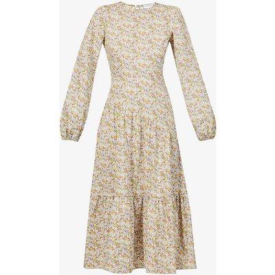 Floral-print cotton-poplin midi dress