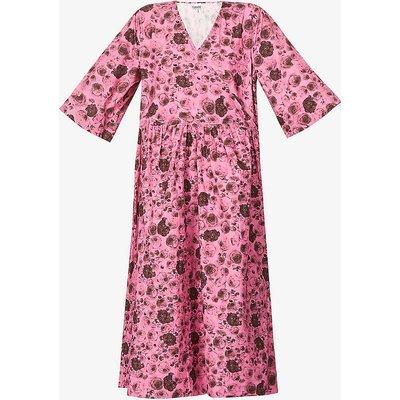 Floral-print organic-cotton wrap midi dress