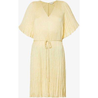 Pleated V-neck crepe midi dress