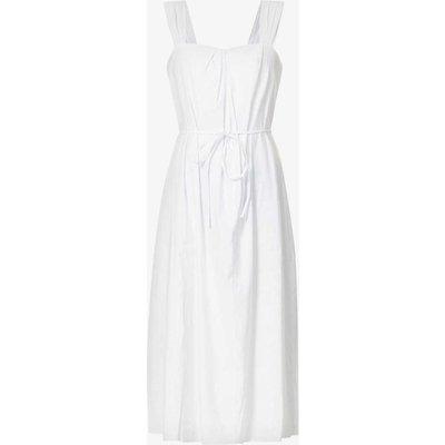 Poet sweetheart-neck linen-blend midi dress