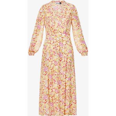 Autumn V-neck silk-crepe midi dress