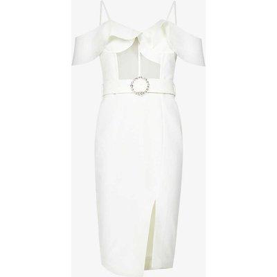 Sweetheart-neck stretch-crepe midi dress