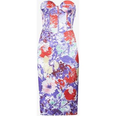 Floral-print satin-crepe midi dress