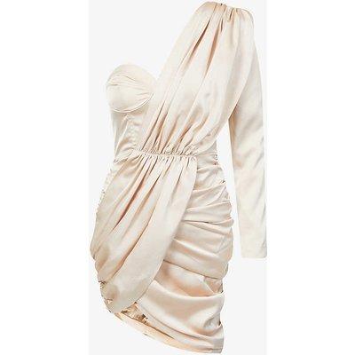 Asymmetric-neckline satin-crepe midi dress