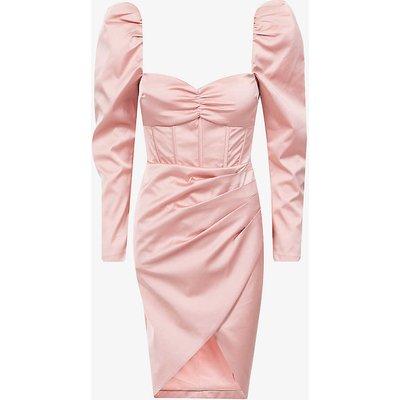 Sweetheart-neckline satin-crepe midi dress
