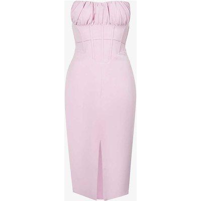 Ruched stretch-crepe midi dress