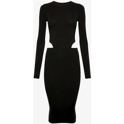 Amina Muaddi X Wolford Ladies Black Cut Out Stretch Jersey Midi Dress
