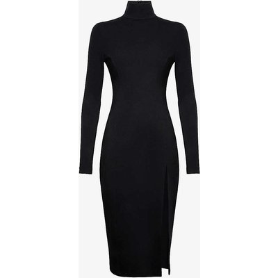 Amina Muaddi X Wolford Ladies Black Turtleneck Stretch Jersey Midi Dress