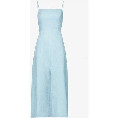 Nia front-split tie-back linen midi dress