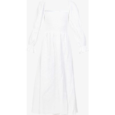 Hyland puffed-sleeve linen midi dress