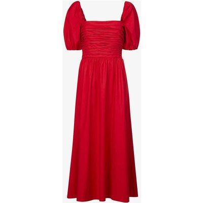 Rachelle puffed-sleeve organic-cotton blend midi dress