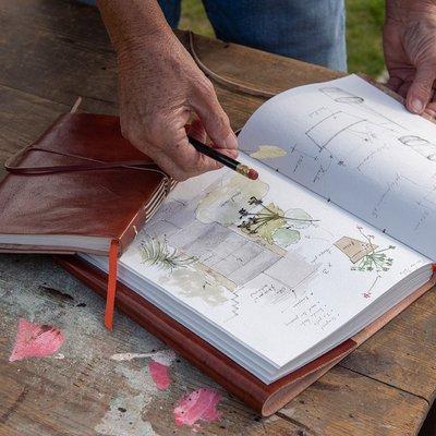 Gardener's leather journal/sketchbook - chestnut brown sketchbook