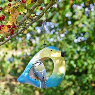 Ceramic blue tit feeder