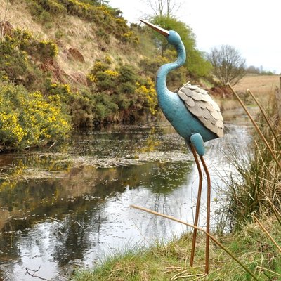 Decorative blue heron