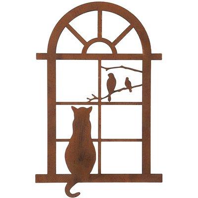 Cat in window plaque - small