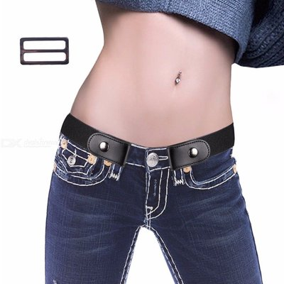 Womens No Buckle PU Belt Buckle-free Invisible Waist Belt For Jeans Pants