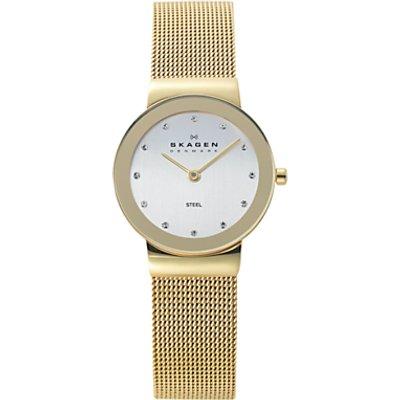 Skagen 358SGGD Women s Stainless Steel Bracelet Strap Watch  Gold White - 768680048377