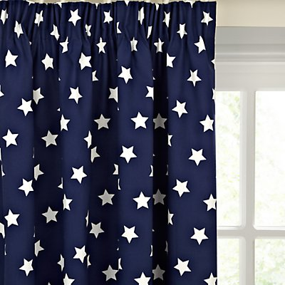little home at John Lewis Glow in the Dark Star Pair Blackout Lined Pencil Pleat Children s Curtains  Navy - 28208013