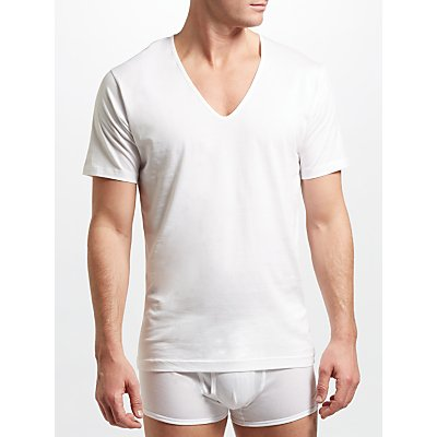 5055611510320 | Sunspel Superfine Low V Neck Underwear T Shirt  White