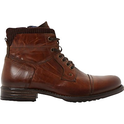 Dune Calabash Leather Lace Up Boots - 5054618189249