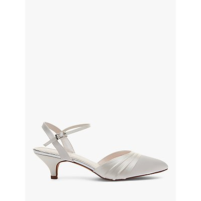 Rainbow Club Julie Kitten Heel Court Shoes, Ivory Satin