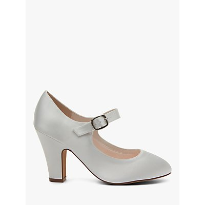Rainbow Club Madeline Block Heeled MJ Shoes, Ivory Satin