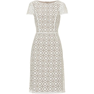 Betty Barclay Graphic Print Dress, Cream/Taupe